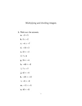 Multiply And Divide Integers Worksheet Teaching Resources | Teachers ...