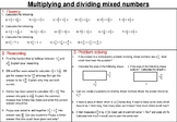 Multiplying and dividing mixed number fractions- mastery worksheet