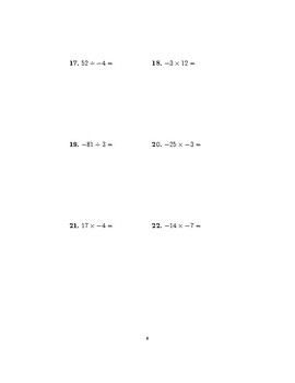 Multiplying and dividing positive and negative numbers (worksheet with solutions