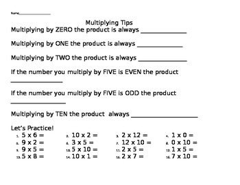 Multiplying by 0, 1, 2, 5, and 10