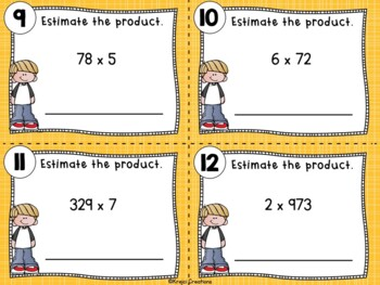 Multiplying by 1-Digit Numbers Differentiated Task Cards