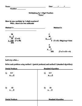 Multiplying by 1-Digit Numbers Notes Page