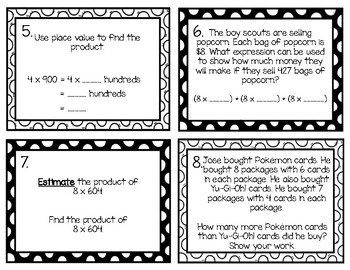 Multiplying by 1-Digit Numbers Task Cards (4th Grade GoMath Ch. 2 Test Review)