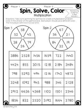 Multiplying by 1-digit, 2-digit, and 3-digit Numbers NO PREP Partner Games