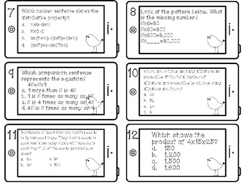 Multiplying by 1-digit numbers review task cards, Chapter 2, 4th Grade, Go Math