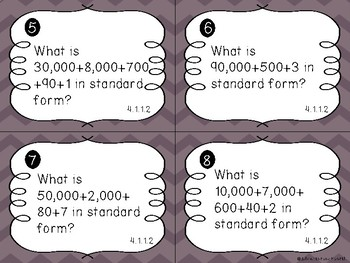 Multiplying by 10, 100, 1000 Task Cards