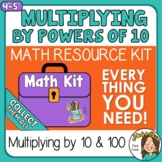 Multiplying by 10 & 100 (Powers of 10) activities with digital options Math Kit