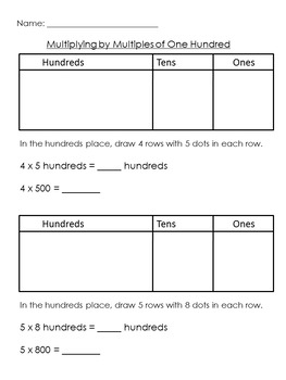 Multiplying by 10, 100, and 1,000 Using the Place Value Chart