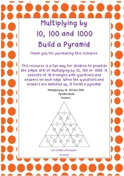 Multiplying by 10, 100 and 1000 Build a Pyramid Jigsaw