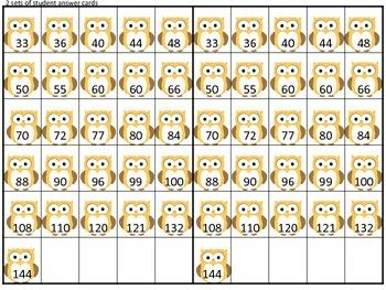 Multiplying by 10, 11, and 12 Bingo