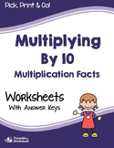 Multiply By 10 Worksheets, Multiplication Fluency Sheets For Practice