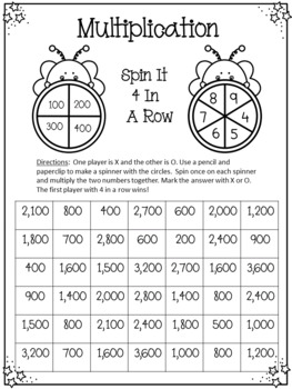 Multiplying by 10 and 100 Games, Guided Problems and Word Problems