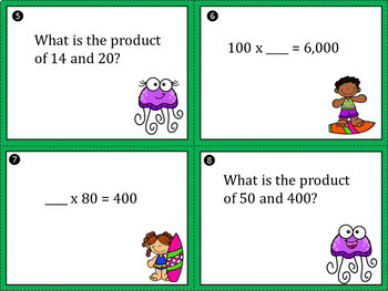 Multiplying by 10 and 100 Task Cards