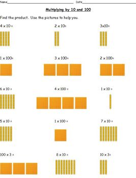 Multiplying by 10 and 100-Using Base-Ten Blocks (Common Core Aligned)