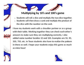 Multiplying by 10's and 100's