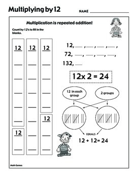 Multiplying by 12 - Math Multiplication Games and Lesson Plan