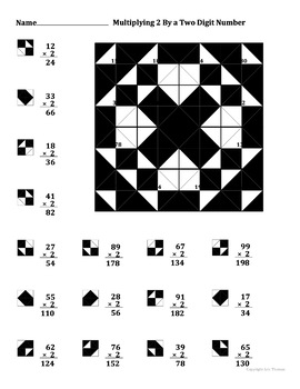 Multiplying 2 By A Two Digit Number Color Worksheet
