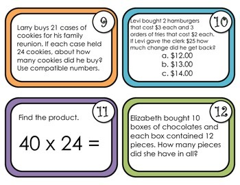 Multiplying by 2 Digit Numbers-Task Cards Aligned with EnVision Topic 7- 4th Gr.