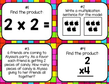 Multiplying by 2 Task Cards