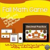 Multiplying decimals using model Fall leaves themed digital game