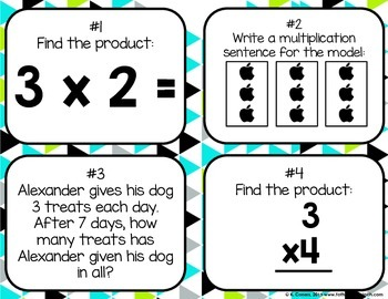 Multiplying by 3 Task Cards