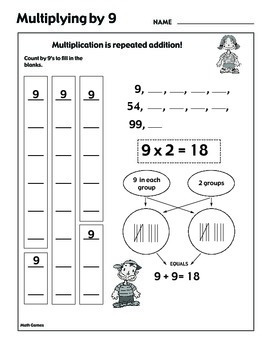 Multiplying by 9 - Math Multiplication Games and Lesson Plan