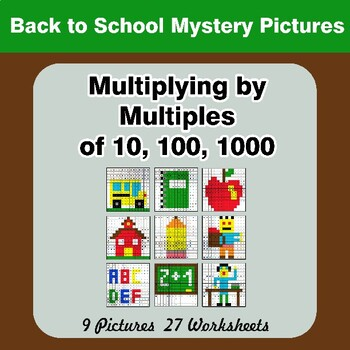 Multiplying by Multiples of 10, 100, 1000 - Back To School Math Mystery Pictures