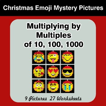 Multiplying by Multiples of 10, 100, 1000 - Christmas Emoji Mystery Pictures