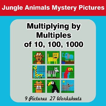 Multiplying by Multiples of 10, 100, 1000 - Color By Number - Jungle Animals