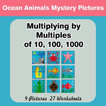 Multiplying by Multiples of 10, 100, 1000 - Color By Number - Ocean Animals