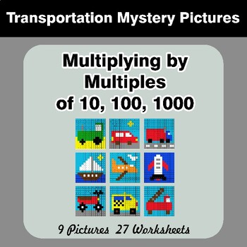 Multiplying by Multiples of 10, 100, 1000 - Color By Number - Transportation
