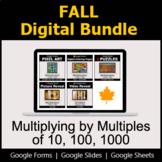 Multiplying by Multiples of 10, 100, 1000 - Digital Fall Math Bundle