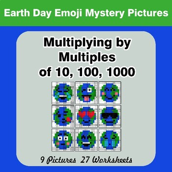 Multiplying by Multiples of 10, 100, 1000 - Earth Day Emoji Mystery Pictures