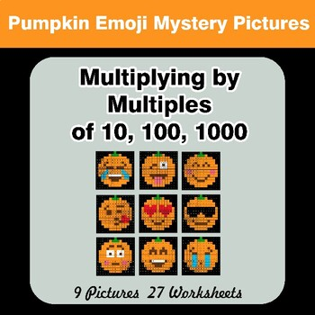 Multiplying by Multiples of 10, 100, 1000 - Halloween Emoji Mystery Pictures