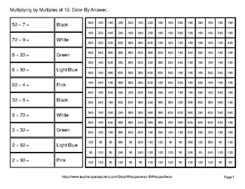 Multiplying by Multiples of 10, 100, 1000 - Math Mystery Pictures - Animals