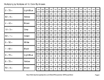 Multiplying by Multiples of 10, 100, 1000 - Math Mystery Pictures - City