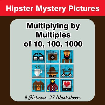 Multiplying by Multiples of 10, 100, 1000 - Math Mystery Pictures - Hipsters