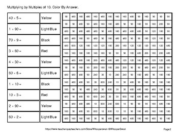 Multiplying by Multiples of 10, 100, 1000 - Math Mystery Pictures - Middle Ages