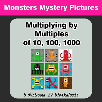 Multiplying by Multiples of 10, 100, 1000 - Math Mystery Pictures - Monsters