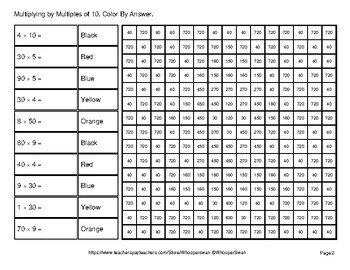 Multiplying by Multiples of 10, 100, 1000 - Math Mystery Pictures - Outer Space
