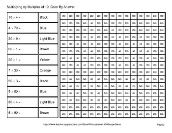 Multiplying by Multiples of 10, 100, 1000 - Math Mystery Pictures - Pirates