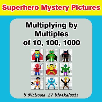 Multiplying by Multiples of 10, 100, 1000 - Math Mystery Pictures - Superhero