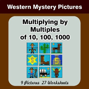 Multiplying by Multiples of 10, 100, 1000 - Math Mystery Pictures - Western
