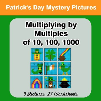 Multiplying by Multiples of 10, 100, 1000 - St. Patrick's Day Mystery Pictures