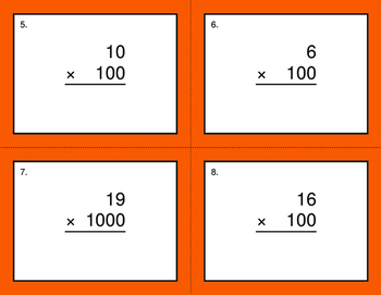 Multiplying by 10, 100, and 1000 BINGO and Task Cards