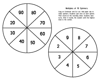 Multiplying by Multiples of 10 Spinner Game