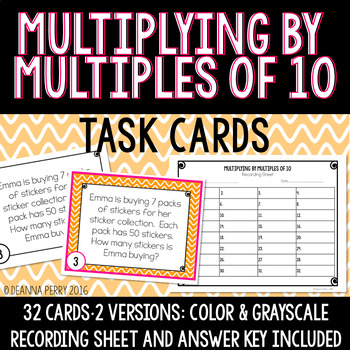 Multiplying by Multiples of 10 Task Cards