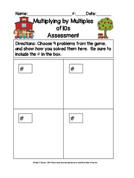 Back to School Multiplying by Multiples of 10 Task Cards & Game