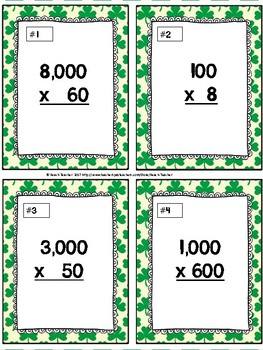 March Themed Multiplying by Multiples of 10 Task Cards & Game