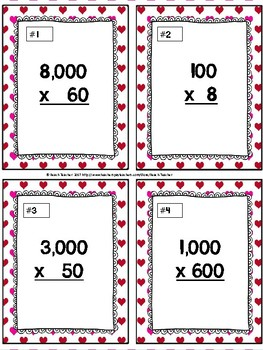 Multiplying by Multiples of 10 Task Cards & Game (Valentine's Day)